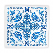 MADAME X - BLUE TILES SILK SATIN SCARF